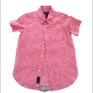 NWOT-Boy's Red Linen GAP Button Down